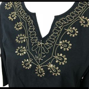 ♥️ KAKTUS Tunic Gold Beaded Black 3/4 Sleeve SM